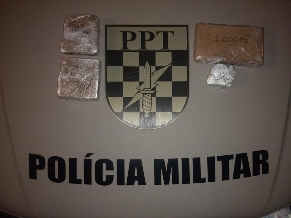 PM e PRF apreendem 2,250 kg de Cocaína