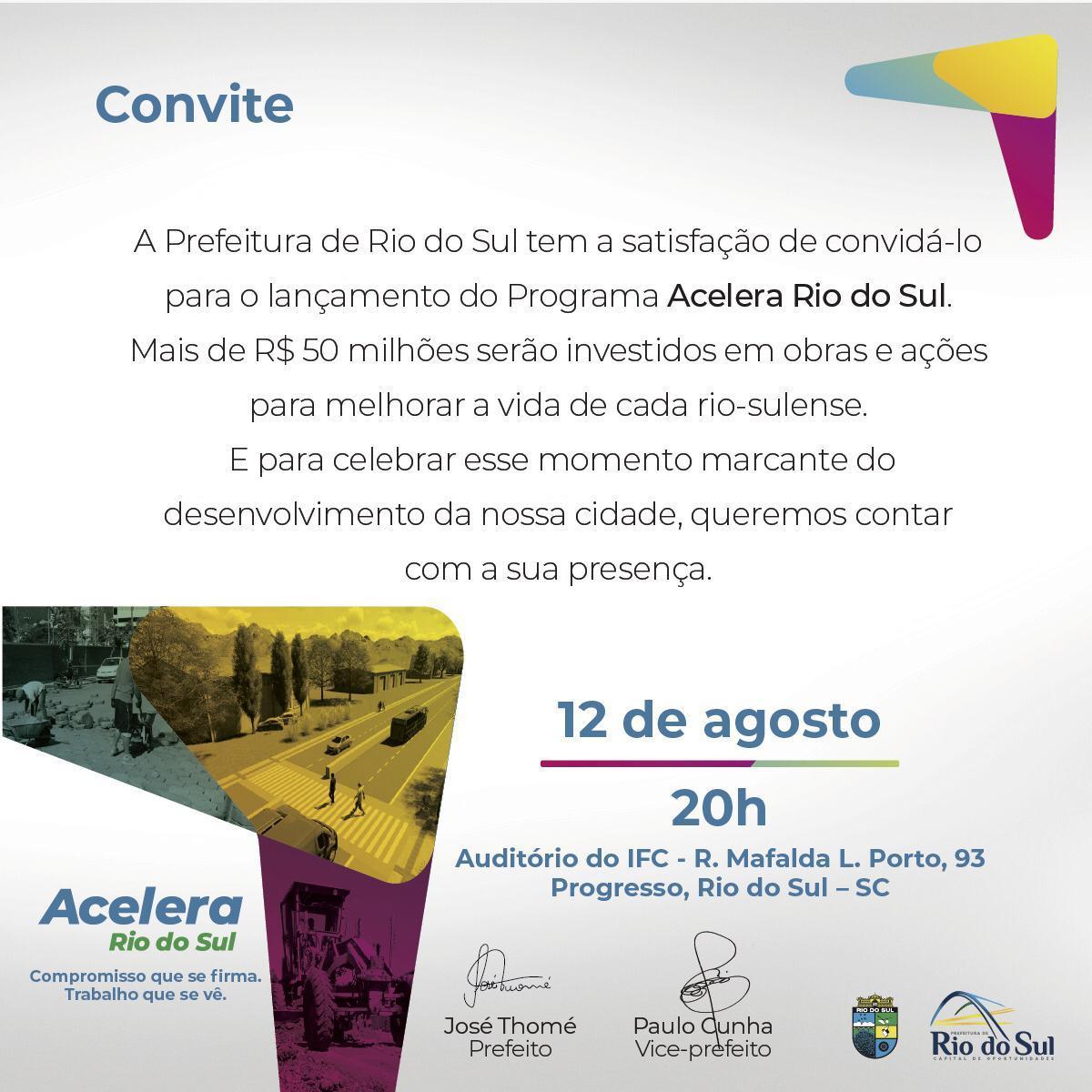 Rio do Sul lança pacote de investimento no valor de R$ 50 milhões