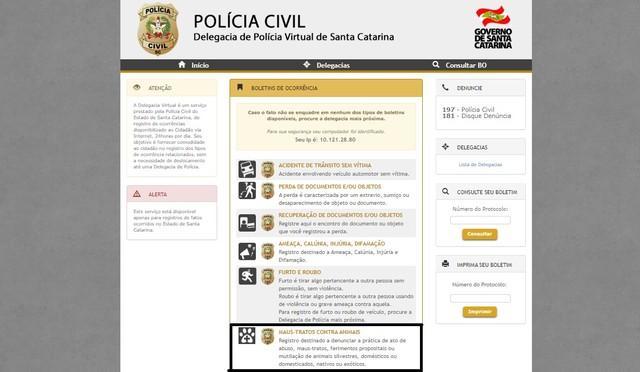 Delegacia virtual de SC passa a registrar boletins de ocorrência de maus-tratos contra animais